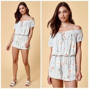 Kendall & Kylie Off The Shoulder Lace-Up Romper